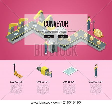 Mechanical belt conveyor isometric 3D poster. Industrial goods production, assembly line with workers, manufacturing process. Factory automation and machinery, production line vector illustration.