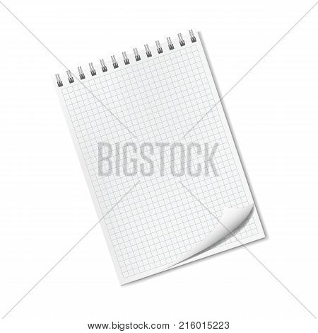 Vector vertical realistic quad ruled notepad with dog ear turned-up corner sketchbook on spiral binder front view. Clear empty square lined notebook page with shadow organizer template