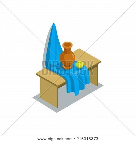 Still life with jug and apple for arts lesson 3d isometric icon. Primary school education vector illustration.