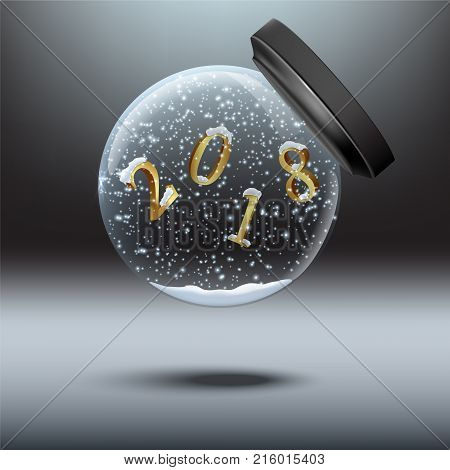 Snow globes with 2018 year sign. Vector falling snow globe with 2018 number