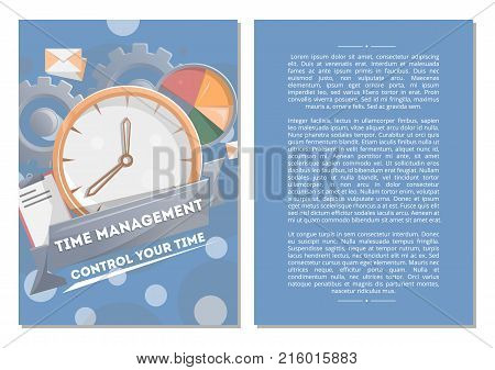 Time management poster with round clock. Time planning and control concept for effiecient succesful and profitable business. Effective working time organization vector illustration in flat style.