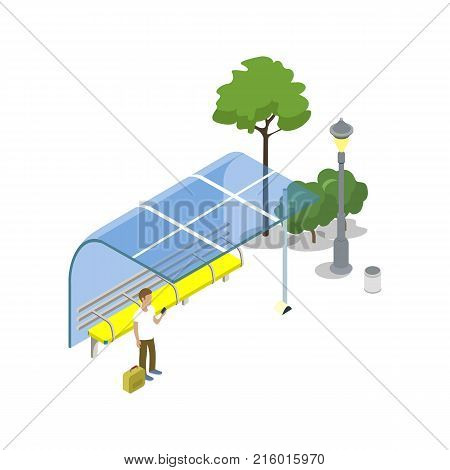 Public transport stop isometric 3D icon. City transportation, modern town waiting station, urban and countryside traffic vector illustration.