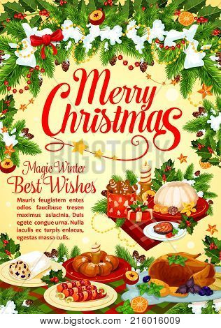 Christmas and New Year winter holidays greeting card with festive dinner and Xmas wreath. Turkey, pudding and gingerbread cookie, chocolate cake, fish and sweet bread for Christmas cuisine design