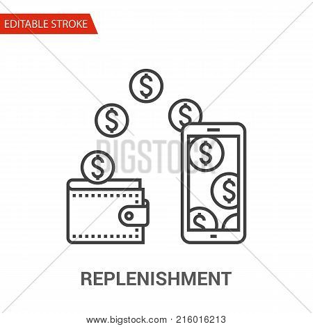Replenishment Icon. Thin Line Vector Illustration - Adjust stroke weight - Expand to any Size - Easy Change Colour - Editable Stroke - Pixel Perfect