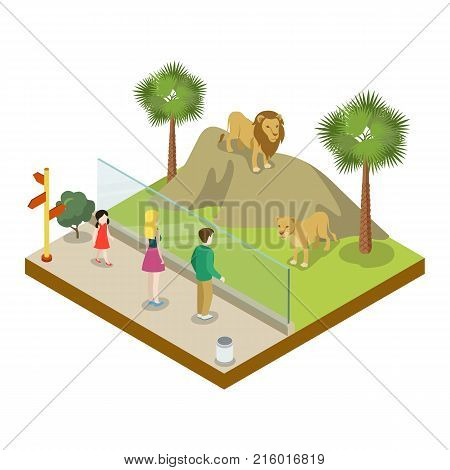Cage with lions isometric 3D icon. Public zoo with wild animals and people, zoo infrastructure element for design vector illustration.