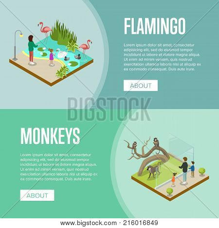 Public zoo with wild animals and visitors isometric posters. People near cages with flamingos and monkeys vector illustration. Zoo infrastructure elements for landscape design, wildlife concept.