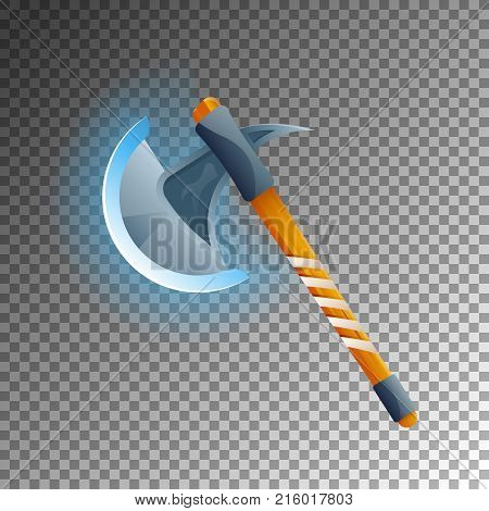 Fantasy medieval hatchet icon. Shiny medieval weapon for computer game design. Fight decoration, fantasy battle vector illustration isolated on transparent background.