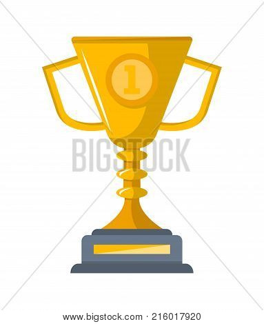 First place golden cup isolated on white background vector illustration. Award trophy object, championship ceremony label, sport competition prize, victory emblem in flat style.