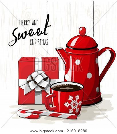 Christmas still-life, red gift box wit white ribbon, red tea pot, candy cane and cup of coffee on white background with text Merry and sweet Christmas, vector illustration, eps 10 wit transparency