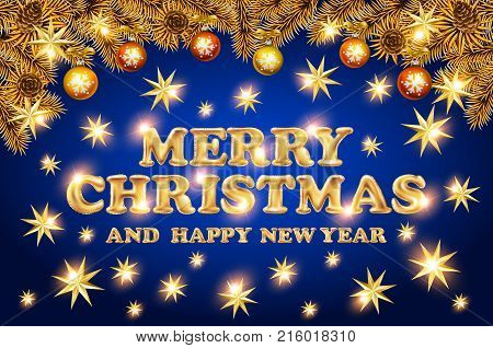 Christmas Lettering With Golden Stars. Merry Christmas And Happy New Year Gold Star. Blue Background