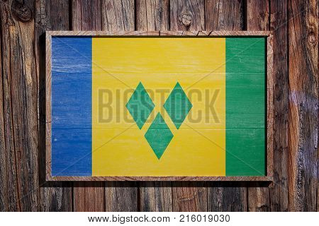 Wooden Saint Vincent And The Grenadines Flag