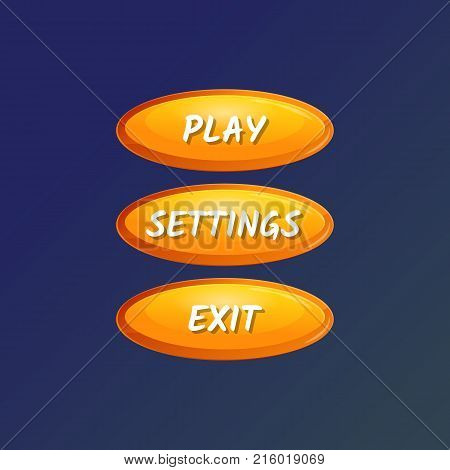 Yellow oval options panel for user interface. Play, settings and exit cartoon buttons. Bright design isolated vector illustration