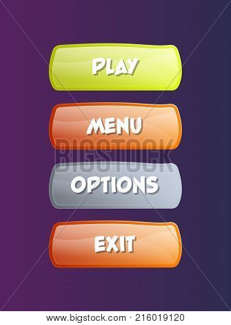 Bright GUI design isolated set. Play, menu, options and exit cartoon buttons. Options selection windows for user interface vector illustration