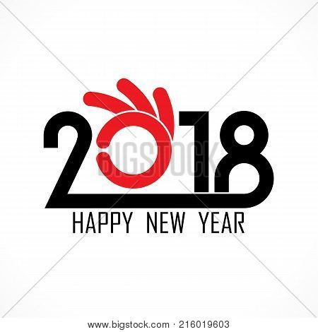 2, 0, 1 and 8 with hand sign. Holiday background concept.Happy new year 2018 holiday background.2018 Happy New Year greeting card.Vector illustration