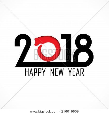 2, 0, 1 and 8 with head dog sign.Holiday background concept.Happy new year 2018 text design with dog symbol.Happy new year 2018 vector background.Vector brochure design template.Cover of business diary for 2018 with wishes.Vector illustration