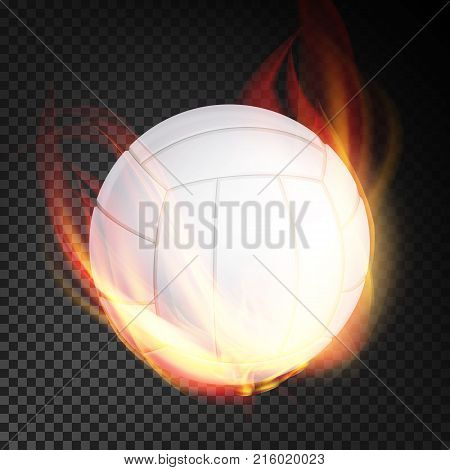 Volleyball Ball In Fire Vector Realistic. Burning Volley Ball. Transparent Background
