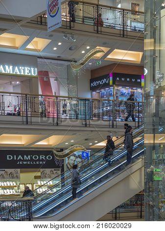 Czech Republic, Prague, Palladium Shopping Centre, November 23, 2017: View On Escalator And People S