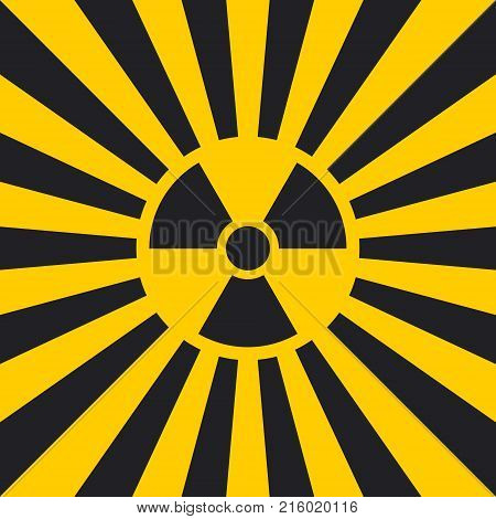Sign dangerous Ionizing radiation pop art style, vector Ionizing radiation sign in yellow and black rays, glow, Hazard symbol background warning