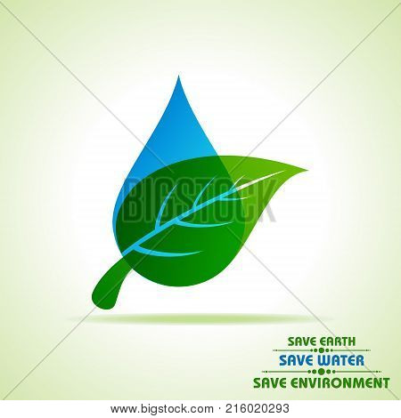 Save Nature Concept with leaf and water droplet stock vector