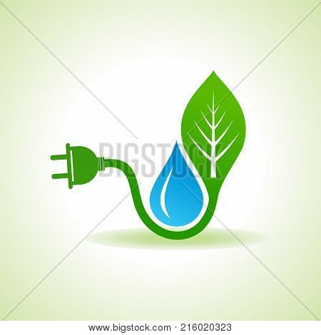Eco Energy Concept with leafplug and water droplet stock vector
