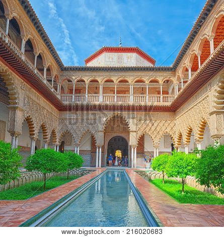 Panoramic View Of Inner Patio- Maidens Courtyard ( Patio De Las Doncellas) Of The Royal Alcazar In S
