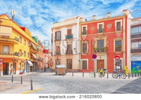 Downtown Of The City Seville - Is The Capital And Largest City Of The Autonomous Community Of Andalu