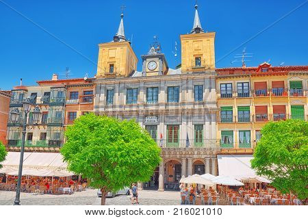 Landscape Of Town Hall Of Segovia On  Main Square (plaza Major). Spain.