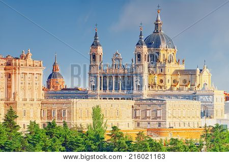 Panorama View On Royal Palace (palacio Real) In The Capital Of Spain - Beautiful City Madrid From A