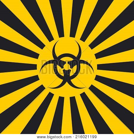 Biological hazard sign dangerous pop art style, vector sign Ionizing Biological yellow and black rays, glow, Hazard symbol warning