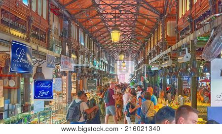 Indoor Of Market Of San Miguel  Is A Covered Market Located In Madrid, Spain.