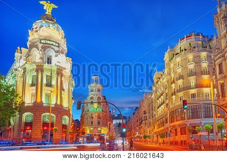 Gran Via Street In Madrid, After Sunset, Traffic Lights On Gran Via, Main Shopping And  Financial St