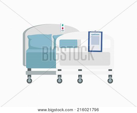 Hospital wheeled bed with blue linen and pillows isolated on white background. Vector illustration of hotel equipment with emergency button on top