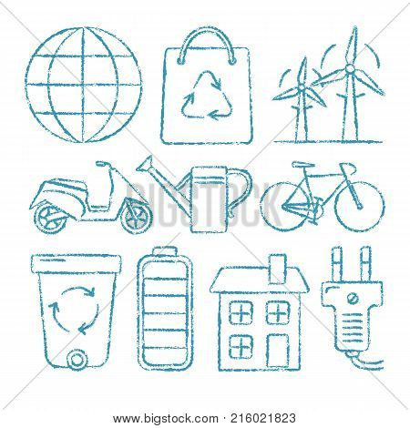 Collection of ecology icons in sketch style. Hand drawn ecological symbols isolated on white background.