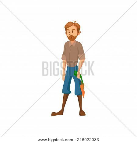 Male farmer standing and holding bunch of carrots, gardener harvesting carrots cartoon vector Illustration on a white background