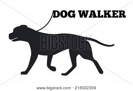 Dog walker logo design with canine animal black silhouette isolated on white background. Canine domestic pedigree purebred on walk vector illustration