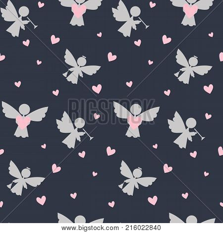 Vector flat background with cute christmas angels. Disign for wrapping paper or Christmas decoration baby shower.