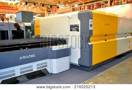 Kiev, Ukraine - November 23, 2017:-Industrial machinery, production aggregation and equipment, mechanical automaton facilities, machine tools and lathes. Industrial technologies, production processes.