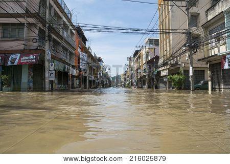 November 25 2017 : Water floods in downtown Phetchaburi Thailand.