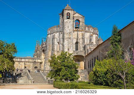 Entrance and main Church in the Convent of Christ (Convento de Cristo). Tomar Ribatejo Portugal