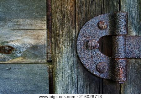 Forged door hinge at the old barn