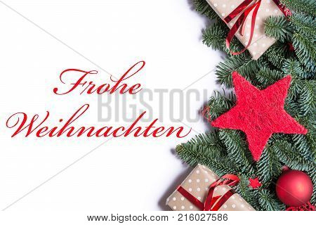 Merry Christmas In German In Red On A Christmas Background Border On The Right Side With Fir Branche