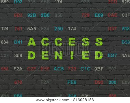 Safety concept: Painted green text Access Denied on Black Brick wall background with Hexadecimal Code