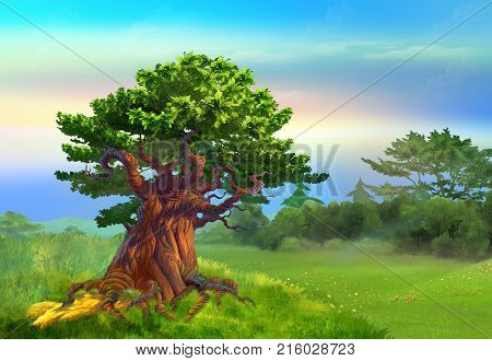 Solitary Oak Tree in a meadow in a sunny day. Digital Painting Background Illustration in cartoon style