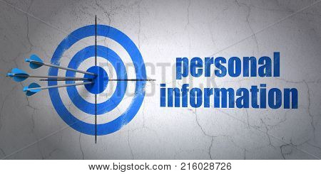Success privacy concept: arrows hitting the center of target, Blue Personal Information on wall background, 3D rendering