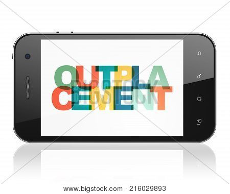 Finance concept: Smartphone with Painted multicolor text Outplacement on display, 3D rendering