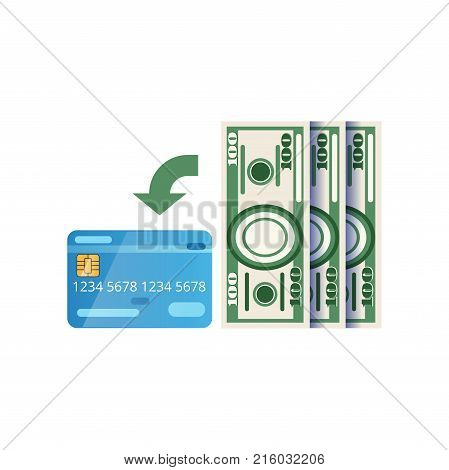 Replenishment of plastic card. Illustration of credit or debit card and paper money. American currency. Personal finance management concept. Cartoon icon. Flat vector design isolated on white.