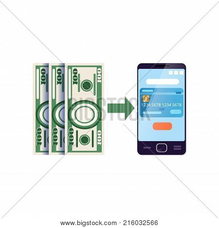 Operation with cash assets, using bank mobile app. Mobile wallet. Icon of personal financial management application. Digital technologies concept. Modern flat vector illustration isolated on white.
