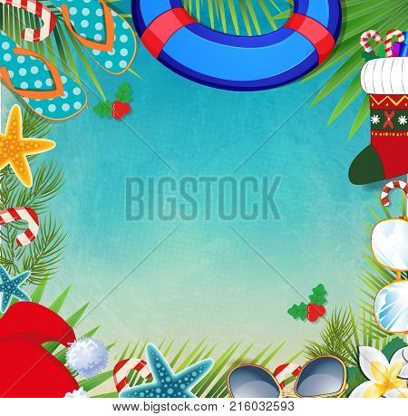 Merry Christmas And Happy New Year Border On A Warm Climate