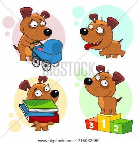 Eighth part of a collection of icons with dogs for design. A dog with a baby stroller, a dog is walking, a dog with a pile of books, a dog is a winner on a pedestal.