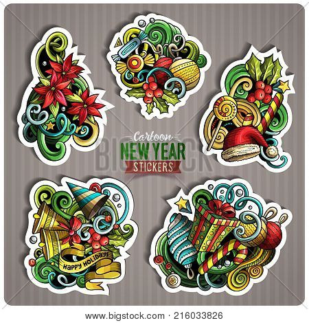 Set of Happy New Year cartoon stickers. Vector hand drawn objects and symbols collection. Label design elements. Cute patches, pins, badges series. Comic style.